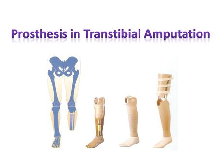 Upon completion of this lecture student will be able to:  Identify different parts of transtibial prosthesis.  Describe the possible gait deviations.