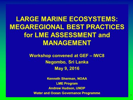 LARGE MARINE ECOSYSTEMS: MEGAREGIONAL BEST PRACTICES for LME ASSESSMENT and MANAGEMENT Workshop convened at GEF – IWC8 Negombo, Sri Lanka May 9, 2016 Kenneth.