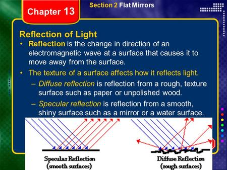 Copyright © by Holt, Rinehart and Winston. All rights reserved. ResourcesChapter menu Section 2 Flat Mirrors Chapter 13 Reflection of Light Reflection.