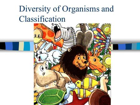 Diversity of Organisms and Classification n Goal of classification process: to make easier way for studying living thing material.