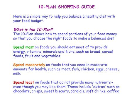 10-PLAN SHOPPING GUIDE Here is a simple way to help you balance a healthy diet with your food budget. What is the 10-Plan? The 10-Plan shows how to spend.