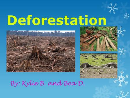 Deforestation By: Kylie B. and Bea D.. What is Deforestation? Deforestation is the conversion of forested areas to non-forest land for use such as arable.