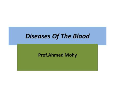 Diseases Of The Blood Prof.Ahmed Mohy. Red blood cell Disorder Anemia Reduction in RBCS &/or haemoglobin/unit volume of blood with low or normal blood.