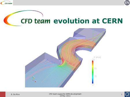 Evolution at CERN E. Da Riva1 CFD team supports CERN development 19 May 2011.