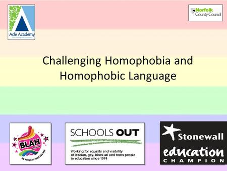 Challenging Homophobia and Homophobic Language. Homophobia is rooted in an irrational fear that leads to hatred, victimisation & intolerance of lesbian,