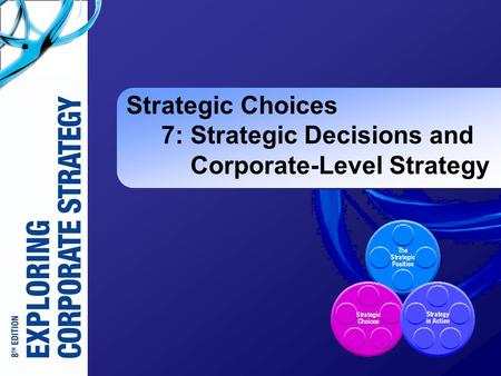 Strategic Choices 7: Strategic Decisions and Corporate-Level Strategy.