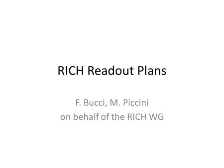 RICH Readout Plans F. Bucci, M. Piccini on behalf of the RICH WG.