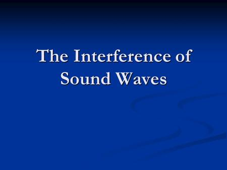 The Interference of Sound Waves. The Principle of Superposition The Principle of Superposition states that when 2 waves interfere, the resulting displacement.