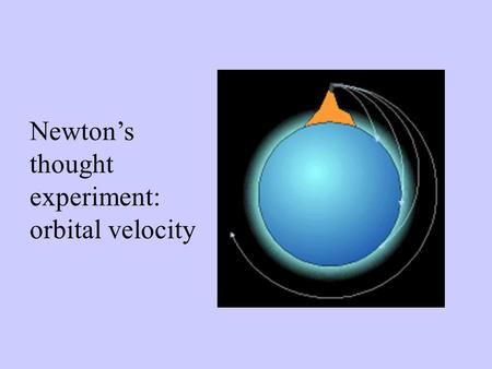 Newton's thought experiment: orbital velocity. Surface escape velocities Planet V escape, ft/sec Mercury13,600 Venus33,600 Earth36,700 Moon7,800 Mars16,700.