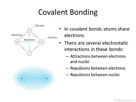 © 2009, Prentice-Hall, Inc. Covalent Bonding In covalent bonds atoms share electrons. There are several electrostatic interactions in these bonds: – Attractions.