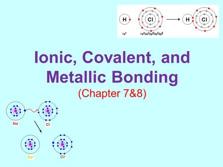 Ionic, Covalent, and Metallic Bonding (Chapter 7&8)