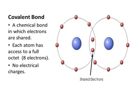 Covalent Bond A chemical bond in which electrons are shared. Each atom has access to a full octet (8 electrons). No electrical charges.