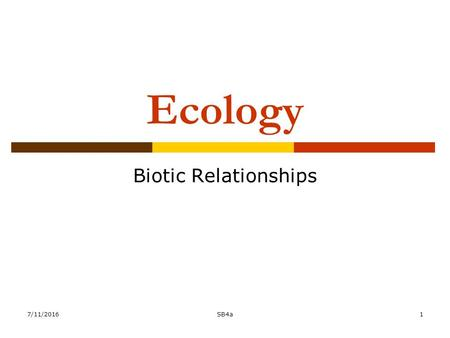 7/11/2016SB4a1 Ecology Biotic Relationships. Habitat vs. Niche  Habitat-is the place a plant or animal lives  Niche is how an organism lives within.
