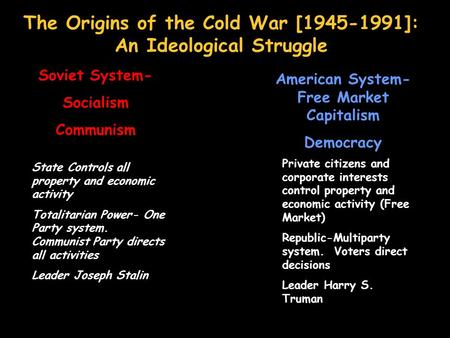 The Origins of the Cold War [1945-1991]: An Ideological Struggle Soviet System- Socialism Communism American System- Free Market Capitalism Democracy State.