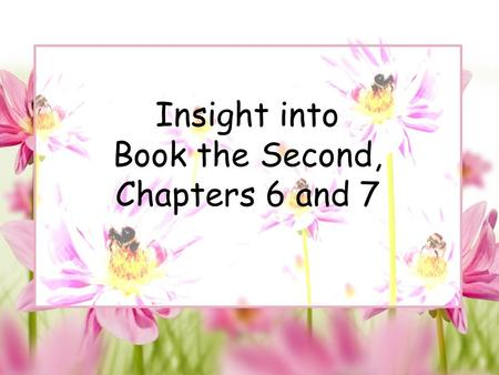 "Insight into Book the Second, Chapters 6 and 7. Chapter 6 ""Hundreds of People"""