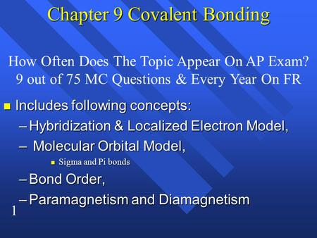 1 Chapter 9 Covalent Bonding n Includes following concepts: –Hybridization & Localized Electron Model, – Molecular Orbital Model, n Sigma and Pi bonds.