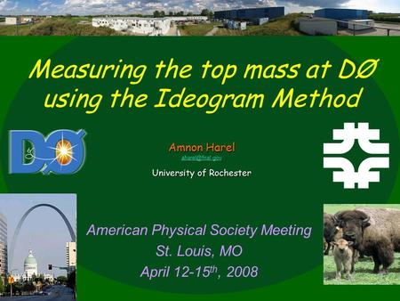 American Physical Society Meeting St. Louis, MO April 12-15 th, 2008 Measuring the top mass at DØ using the Ideogram Method Amnon Harel