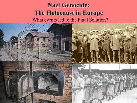 Nazi Genocide: The Holocaust in Europe What events led to the Final Solution?