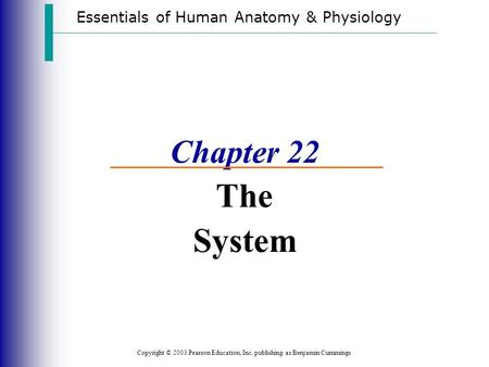 Essentials of Human Anatomy & Physiology Copyright © 2003 Pearson Education, Inc. publishing as Benjamin Cummings Chapter 22 The System.