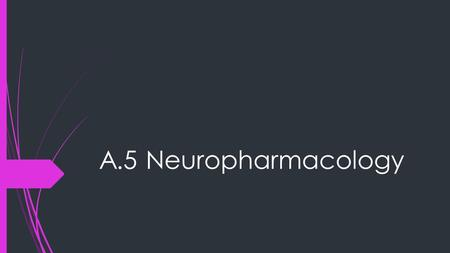 A.5 Neuropharmacology. Synaptic Transmission  Remember, neurons communicate chemical signals via a space called a synapse  On one side of the synapse.