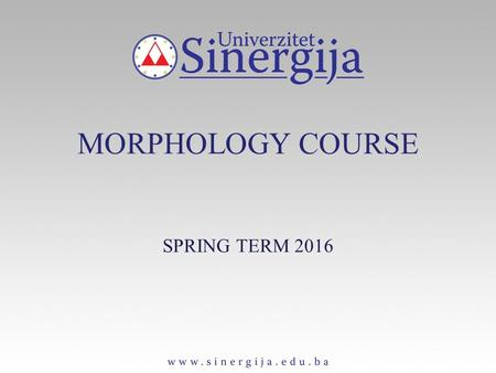 MORPHOLOGY COURSE SPRING TERM 2016. Word Formation Inflection VS. Derivation Inflection: the process of producing new inflectional (grammatical) categories,