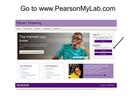 Go to www.PearsonMyLab.com 1. Temporary Access Feature – CourseCompass and MyLab / Mastering New Design2 Enter the Course ID from your instructor. Enter.