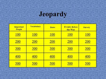 Jeopardy 100 200 300 400 500 100 200 300 400 500 100 200 300 400 500 100 200 300 400 500 100 200 300 400 500 Important People Vocabulary Dates Events Before.