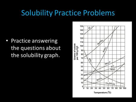 Solubility Practice Problems Practice answering the questions about the solubility graph.