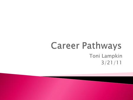Toni Lampkin 3/21/11. We will be starting to investigate careers that you may be interested in. I would like each of you to choose three careers that.