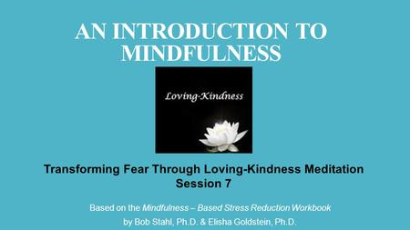 Based on the Mindfulness – Based Stress Reduction Workbook by Bob Stahl, Ph.D. & Elisha Goldstein, Ph.D. Transforming Fear Through Loving-Kindness Meditation.