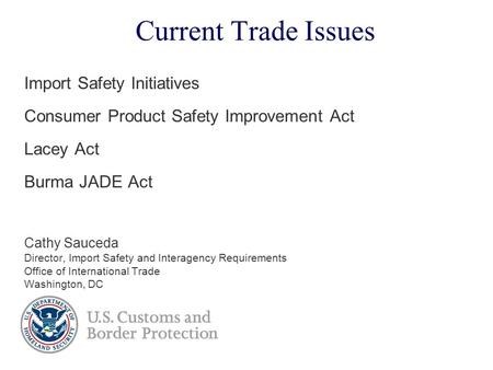 Current Trade Issues Import Safety Initiatives Consumer Product Safety Improvement Act Lacey Act Burma JADE Act Cathy Sauceda Director, Import Safety and.