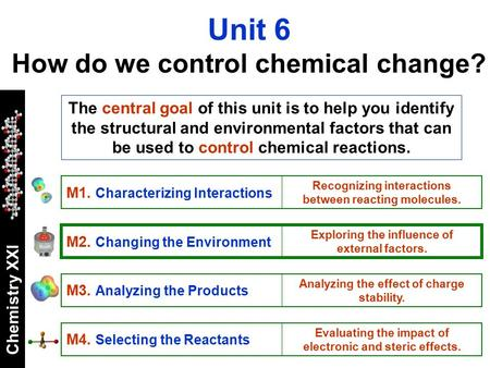 Chemistry XXI The central goal of this unit is to help you identify the structural and environmental factors that can be used to control chemical reactions.