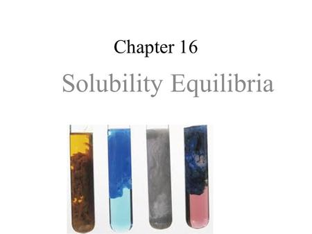 "Chapter 16 Solubility Equilibria. Saturated solutions of ""insoluble"" salts are another type of chemical equilibria. Ionic compounds that are termed ""insoluble"""
