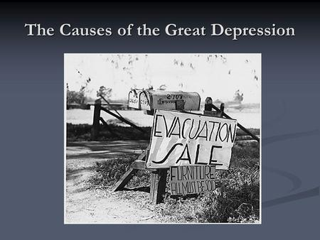 The Causes of the Great Depression. WWI Changes the system Countries overdeveloped their industrial sector to produce wartime goods. Countries overdeveloped.