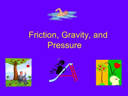 Friction, Gravity, and Pressure Friction Friction - The force that one surface exerts on another when the two rub against each other. Acts in a direction.