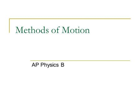 Methods of Motion AP Physics B. Displacement Displacement (x or y) Change in position It is not necessarily the total distance traveled. In fact, displacement.