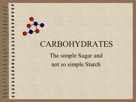 CARBOHYDRATES The simple Sugar and not so simple Starch.