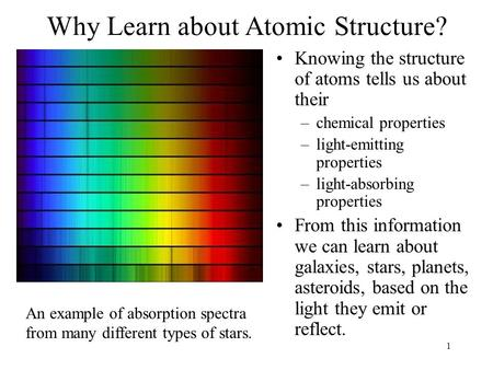 1 Why Learn about Atomic Structure? Knowing the structure of atoms tells us about their –chemical properties –light-emitting properties –light-absorbing.