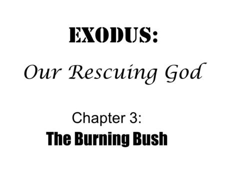 Exodus: Chapter 3: The Burning Bush Our Rescuing God.