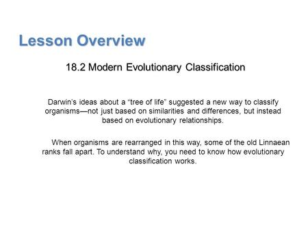 "Lesson Overview Lesson Overview Modern Evolutionary Classification Lesson Overview 18.2 Modern Evolutionary Classification Darwin's ideas about a ""tree."