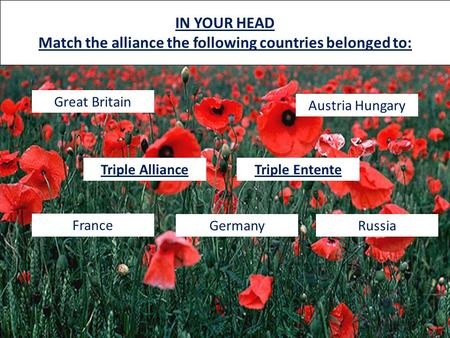 IN YOUR HEAD Match the alliance the following countries belonged to: Great Britain France Austria Hungary RussiaGermany Triple AllianceTriple Entente.