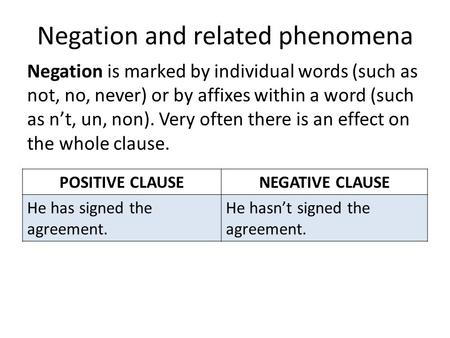 Negation and related phenomena Negation is marked by individual words (such as not, no, never) or by affixes within a word (such as n't, un, non). Very.
