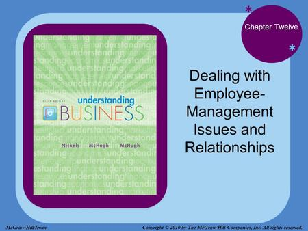 * * Chapter Twelve Dealing with Employee- Management Issues and Relationships Copyright © 2010 by The McGraw-Hill Companies, Inc. All rights reserved.McGraw-Hill/Irwin.