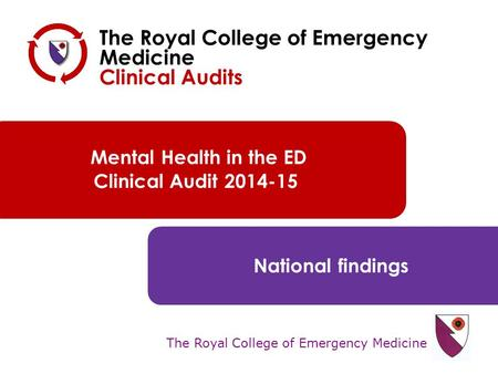 The Royal College of Emergency Medicine Mental Health in the ED Clinical Audit 2014-15 National findings The Royal College of Emergency Medicine Clinical.