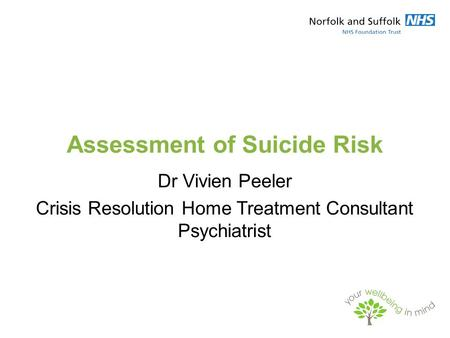 Assessment of Suicide Risk Dr Vivien Peeler Crisis Resolution Home Treatment Consultant Psychiatrist.