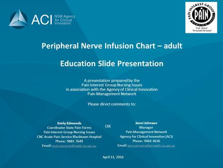 Peripheral Nerve Infusion Chart – adult Education Slide Presentation A presentation prepared by the Pain Interest Group Nursing Issues in association with.