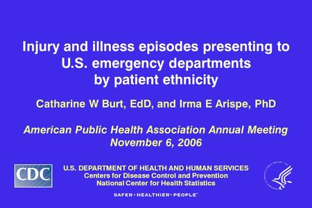 U.S. DEPARTMENT OF HEALTH AND HUMAN SERVICES Centers for Disease Control and Prevention National Center for Health Statistics Injury and illness episodes.