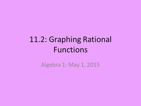 11.2: Graphing Rational Functions Algebra 1: May 1, 2015.