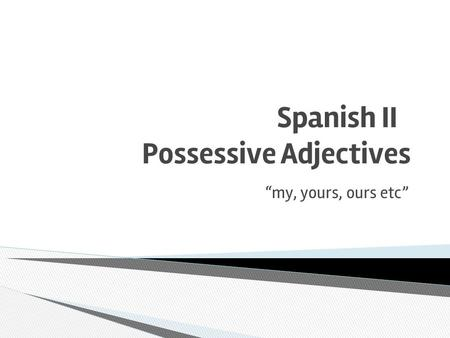 "Spanish II Possessive Adjectives ""my, yours, ours etc"""
