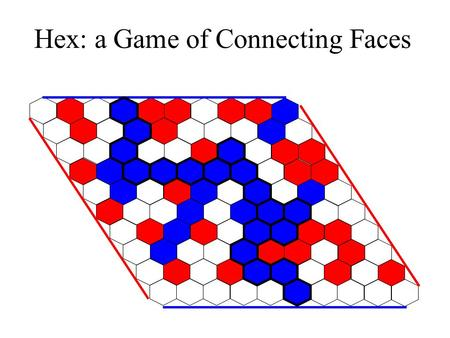 Hex: a Game of Connecting Faces. Player 1 Player 2 Players take turns placing blue chips (player 1) and red chips (player 2). Player 1 plays first. Player.